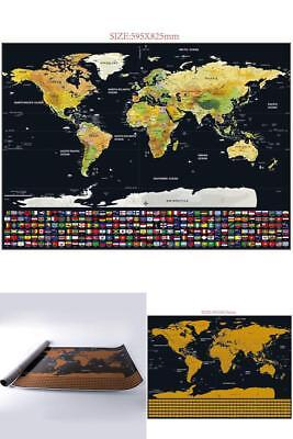 SCRATCH THE WORLD Gold And Black Country Flags Scratch Off World Map - Black and gold world map