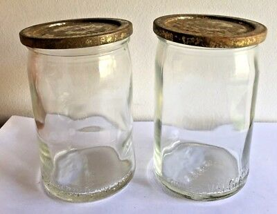 2 Hard to Find Fowlers Vacola 1Lb Clear Glass Jam Jars With Jam Cover Lids