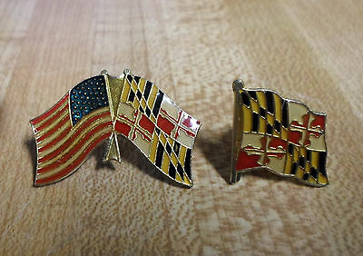 U.s. And Maryland Flag Pin Plus Maryland Flag Pin/tie Tack .  Excellent