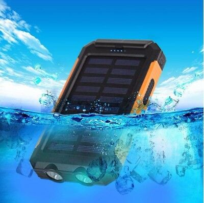 20000mAh Dual-USB Waterproof Solar Power Bank Battery Charger for Cell Phone