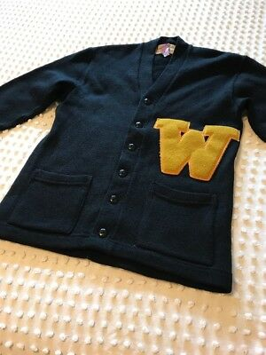 Vtg Letterman Sweater Jacket Mens Small Womens Medium Large 40 Wool Black Gold W