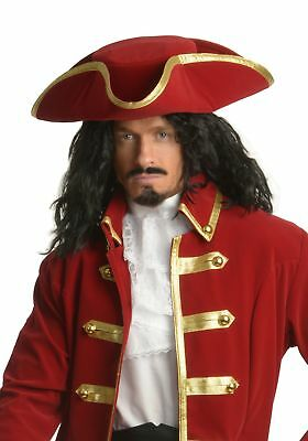Rum Pirate Hat Captain Morgan Tricorn Buccaneer Red Gold Hook Costume Accessory