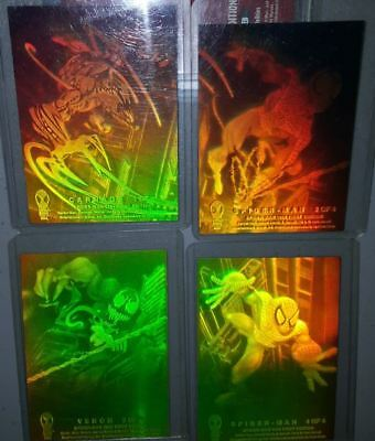 1994 FLEER Spider-Man HOLOGRAM Chase Set FULL Set of 4 Venom / Carnage NM Green