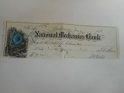 U.S. National Mechanics Bank Check dated June 14, 1879