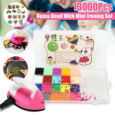 11000Pcs Fuse Perler Hama Beads & Mini Ironing Set Refill Pack 3 pegboard Stater