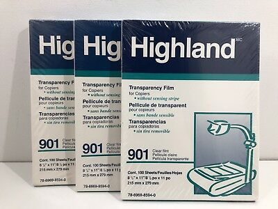 Highland Transparency Film for Plain Paper Copiers 300 Sheets 901  NEW