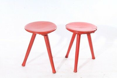 Old Wood Stool Vintage Retro Design Iconic Chair Old Seat Chair Red Workshop
