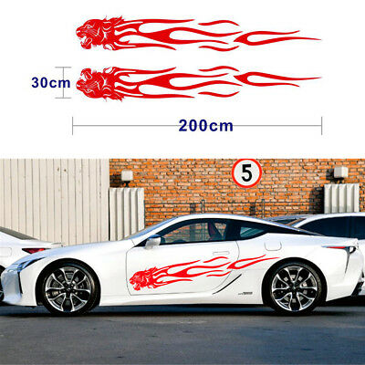 Pair Black Car Racing Body Side Vinyl Leopard Head+Flame Graphics Decal Stickers