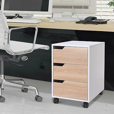 Mobile File Cabinet Pedestal Storage With 3 Drawers Lockable Casters Under Desk