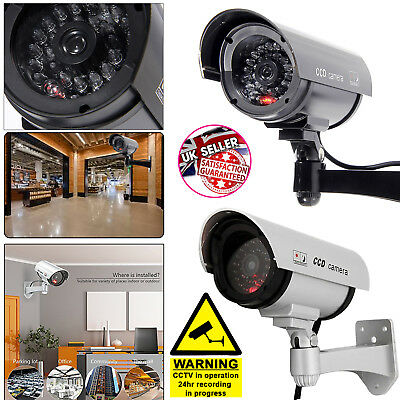 Silver Fake Dummy CCTV Surveillance Security Cam Flashing Red LED Indoor Outdoor