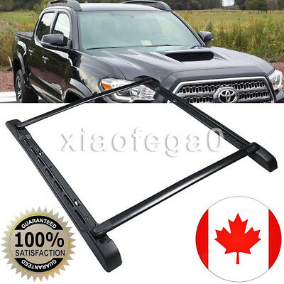 For 05-18 Toyota Tacoma Double Cab Black Stowaway Roof Rail & Crossbars Rack Kit