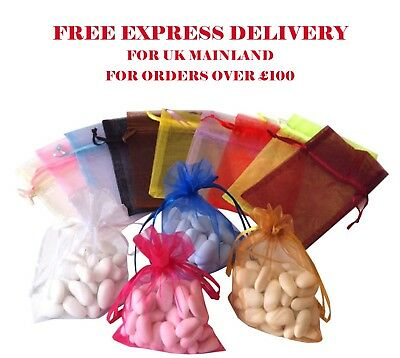 100pcs Sheer Organza Bags 9 x 12cm Transparent Favours Candy Gift Pouches Candy