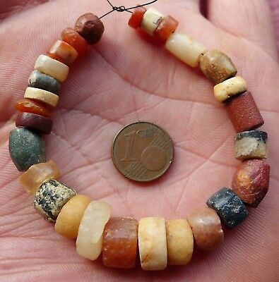 13mm Perles Ancien Afrique Sahara Ancient Neolithic Agate Carnelian Beads Africa