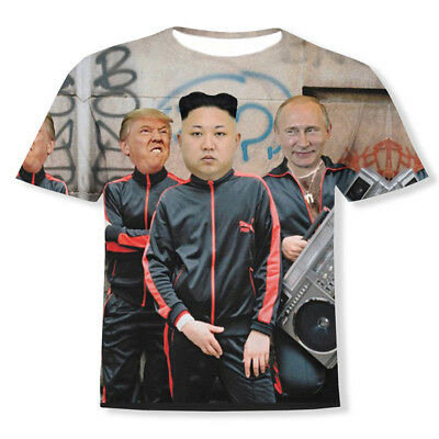 Funny 3D Print Putin Donald Trump And Kim Jong Un Short Sleeve Casual T-Shirt