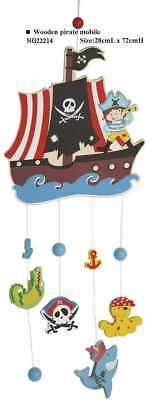Children's Long Wooden Colourful Pirate Baby Mobile Nursery Decor!