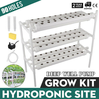 Hydroponic Grow Kit 90 Sites 10 Pipes Garden Plant Vegetable Tool Melons POPULAR