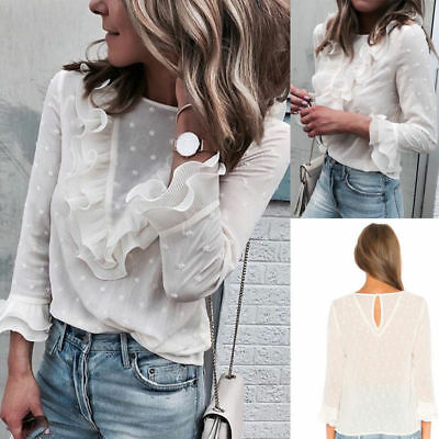 Women OL Shirts Frilly Ruffles Tee Blouse Ladies Casual 3/4 Sleeve Chiffon Tops