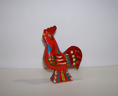 Vintage Swedish DALA ROOSTER G A Olsson Folk Art Hand Carved Wood SWEDEN