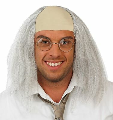 Crazy Scientist White Einstein Wig Fancy Dress Doc Brown Mad Professor