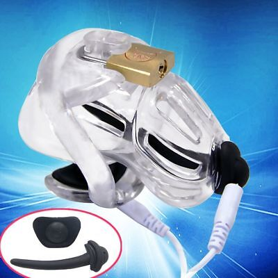 New Electric Chastity Device with Embedded Modular Design Brass Padlock A370-1