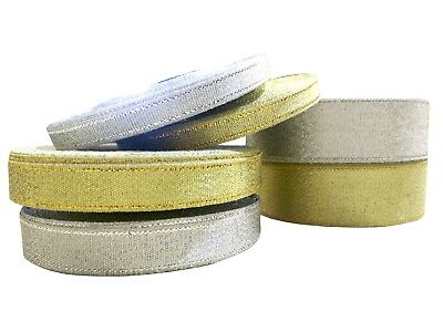 Metallic Glitter Ribbon Gold Silver Sparkling Tulle 6mm 12mm 25mm Rolls Wrapping