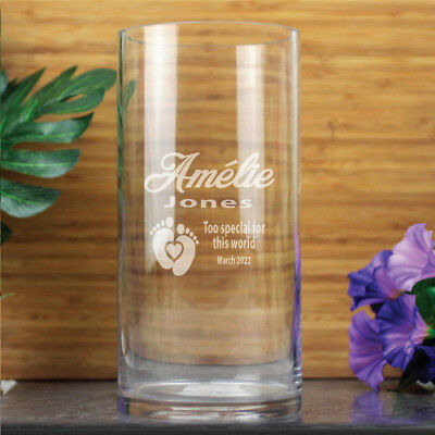 Personalised Baby Memorial Vase -Cylinder - Baby Shower Gifts and Decorations