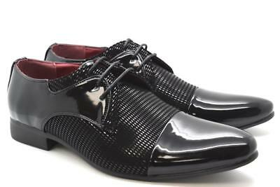 New Mens Patent Formal Italian Faux Suede Open Lace-Up Derby Shoes UK Size 6-12