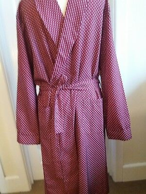 Vintage Tootal Mens LARGE Burgundy Spotty Smoking Jacket Dressing Gown Robe VGC