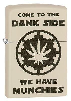 "Zippo ""Pot Leaf-Come to the Dank Side"" Cream Matte Lighter, Munchies, 29590"