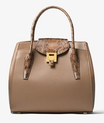 3091b70578ba Michael Kors Collection Bancroft Large Calf Leather and Snakeskin Satchel  Desert
