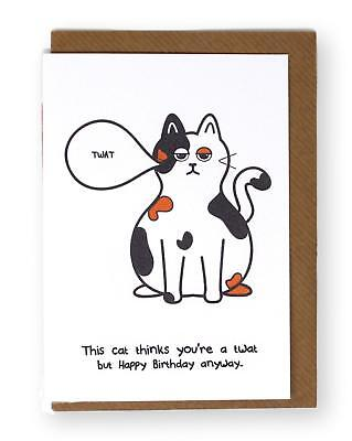 Funny Cat Birthday Card Rude Naughty Twat Cat Lovers Humorous Greetings Cards