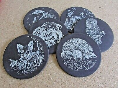 Set of 6 Vintage Polished Welsh Slate Coasters - British Wildlife