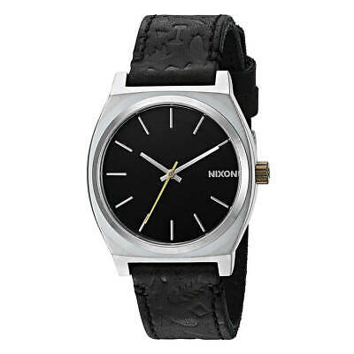 Nixon A0452222 Men's Time Teller Black Dial Leather Strap Watch