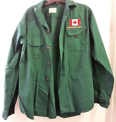 Vintage Boy Scouts Canada Shirt with Canadian Badge Size 15