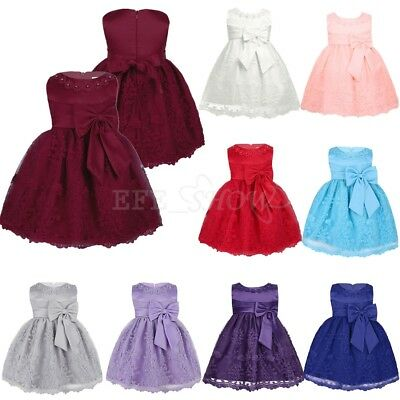 Flower Girl Princess Dress Baby Toddler Wedding Pageant Birthday Party Tutu Gown