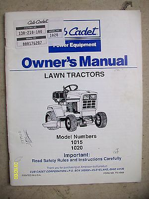 Vintage Original IH Cub Cadet Lawn Tractors Model 1015, 1020 Manual 35-pages