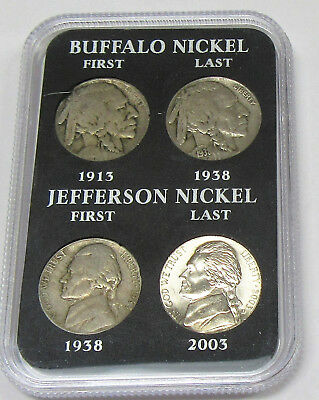 1913-2003 Collector Lot of 4 Buffalo & Jefferson Nickels in Display
