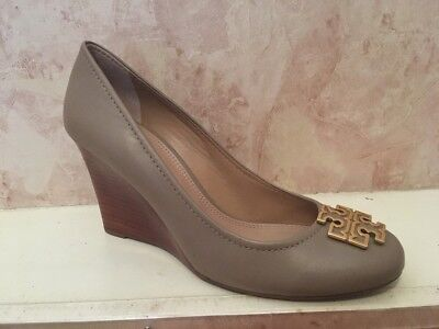 0cd797648 NIB Tory Burch Leather Melinda Pump Wedge Shoes 85mm FRENCH GRAY GOLD 9.5 M