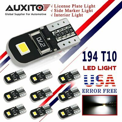 AUXITO 10 x CANBUS T10 194 168 W5W LED 2835 SMD 6000K Car Interior Light Bulb