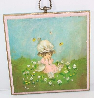 Vintage Shabby Cottage Handmade Wall decor Plaque Flowers Girl Kitty Pink Flower