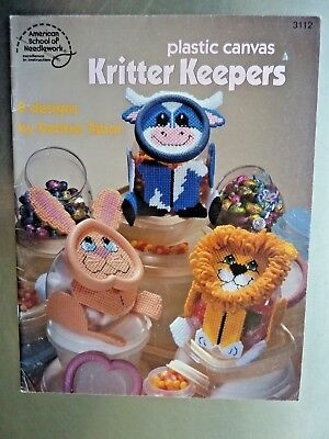 Plastic Canvas Booklet-Animals applied to Plastic Containers Kritter Keepers