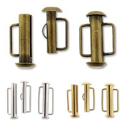 Silver Plated, Gold Plated or Bronze Colour Slide Bar Clasps Pack of 4