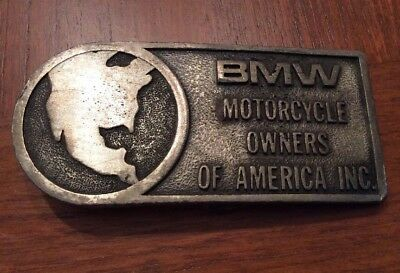 Vtg BMW Motorcycle Owners Of America Brass Belt Buckle