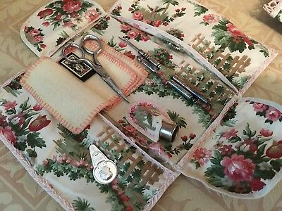 Adorable Antique Sewing Kit Victorian Pink Roses Cotton Fabric 1900-1930s G13