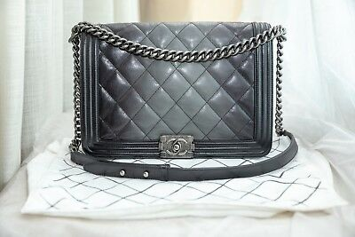 e1a474482ad300 VERIFIED Authentic Chanel Quilted Leather Ombre Degrade Large Boy Flap Bag