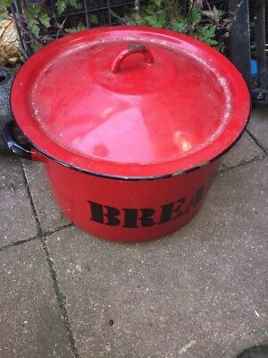"""Large Vintage Traditional Heavy Round Red Enamel Bread Bin 8"""" H 12.5"""" Dia"""