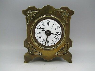 Antique Japy Freres & Cie Brass Carriage Mantel Alarm Clock Bell Striking Old