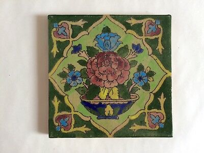 Antique Persian Islamic Pottery Tile Hand Painted