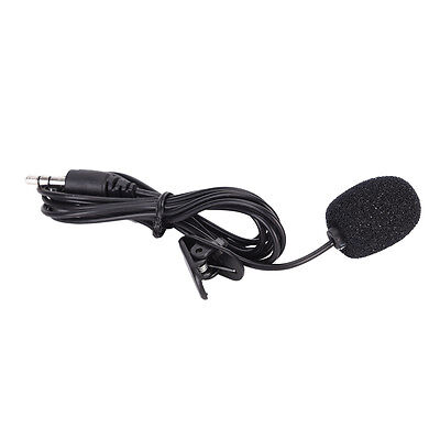 3.5mm hands-free mic microphone clip on lavalier lapel for pc laptop black  XC