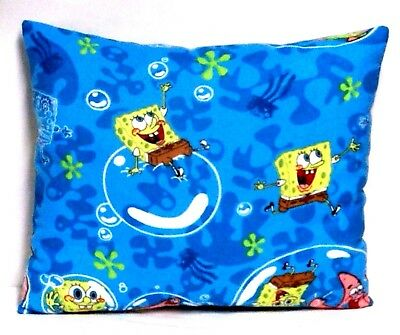 Sponge Bob Toddler Pillow on Turquoise Flannel SB14-1 New Handmade
